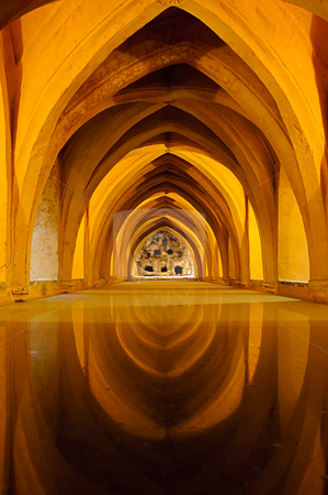 Baths in the Royal Alcazar of Seville, Spain stock photo, View of the so called