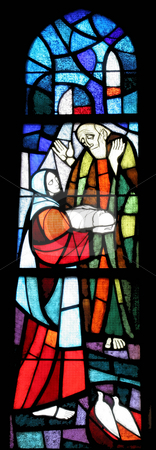 Saint Leopold Mandic stock photo, Stained glass with st. Leopold Mandic by Zvonimir Atletic