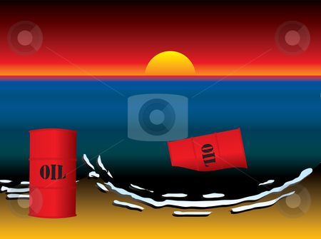 Oil slick barrel sun set stock vector clipart, Tropical beach with sunset and oil slick and barrels by Michael Travers