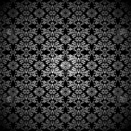 Silver leaf wallpaper stock vector clipart, Black and silver abstract leaf seamless pattern background by Michael Travers