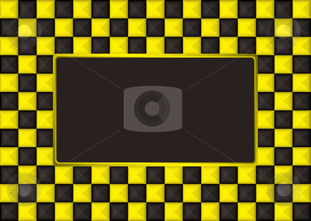 Checkered gold picture frame stock vector clipart, Checkered gold and black picture frame with blank center by Michael Travers