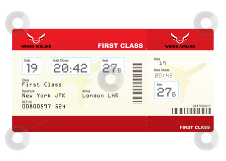 Plane tickets first class stock vector clipart, Red first class plane ticket with gate number and seat by Michael Travers