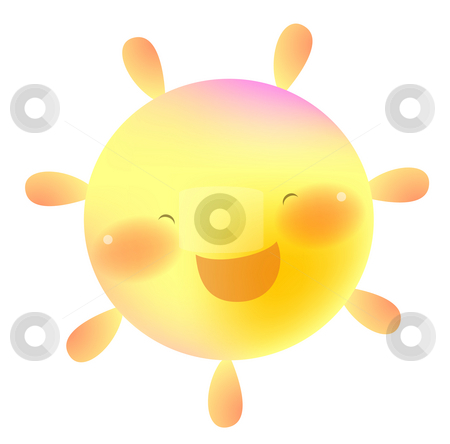 Sun stock photo, Cartoon illustration of a sun with a smile face by Su Li