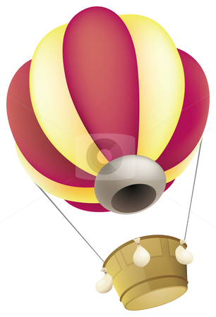 Hot Air Balloon stock photo, A hot air balloon against a white background by Su Li