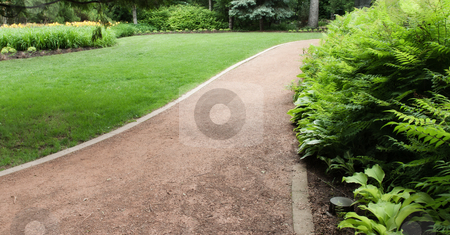 Path In The Park stock photo, A groomed path running through a park with bushes on the right side of the image by Richard Nelson