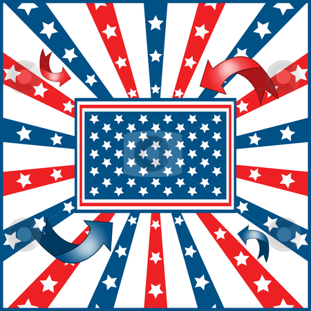 American flag background stock vector clipart, American flag background with stars and stripes symbolizing 4th july independence day by toots77