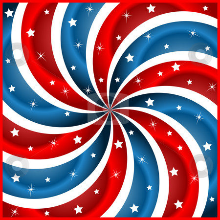 American flag stars and swirly stripes stock vector clipart, American flag background with stars and swirly stripes symbolizing 4th july independence day by toots77