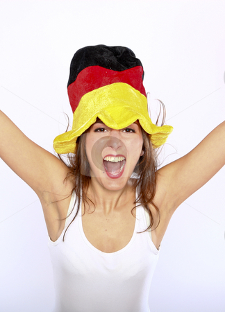 Soccer Fan Woman Wearing A Hat stock photo, Cheerful German Soccer Fan Woman Wearing A Hat by Nick Fingerhut