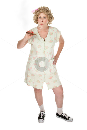 Dowdy woman with cigar stock photo, Housewife on white background smoking a cigar by Scott Griessel