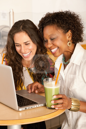 Women on a Laptop stock photo, Two women are working on a laptop while enjoying smoothies.  Vertical shot. by Scott Griessel