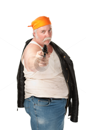 Aimed pistol stock photo, Fat guy with leather jacket and aimed pistol by Scott Griessel