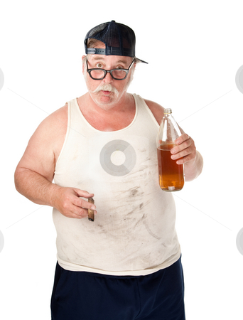 Fat man with beer stock photo, Fat man with drooping glasses a beer and cigar by Scott Griessel