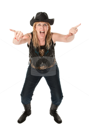 Funny cowgirl  stock photo, Funny cowgirl with hat and boots on white background by Scott Griessel