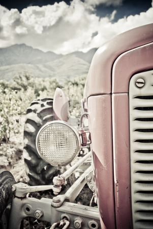 Old red tractor stock photo, Old red tractor with clouds and vineyards in the background by Hein Schlebusch