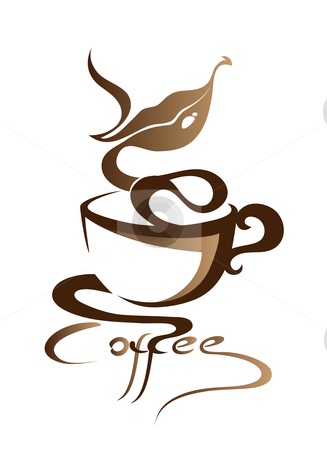  	Coffee stock vector clipart, Vector illustration of coffee with lips emblem,sign,brand by Illustrart  