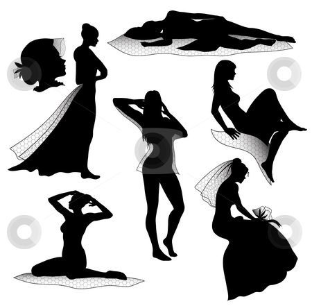 Romantic woman silhouettes stock vector clipart,  by Illustrart