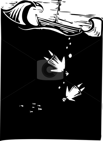 Sinking stock vector clipart, Two people drown having fallen out of a boat by Jeffrey Thompson