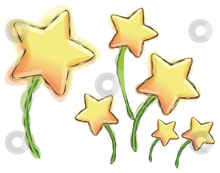 Stars stock photo, Illustration drawing of stars in a white background by Su Li