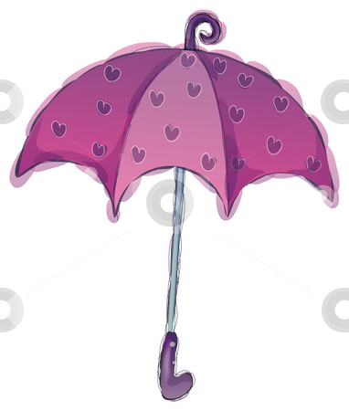 Umbrella stock photo, A purple umbrella with flower isolate in a white background by Su Li