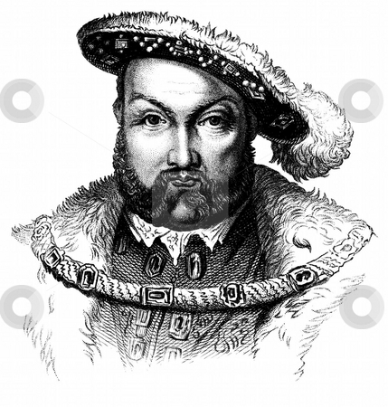 Portrait of King Henry the Eighth stock photo, Engraved portrait of King Henry the Eigth, VIII, on white background. 1878 engraving from book,