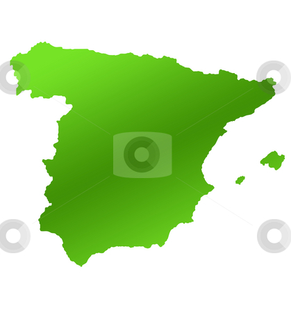 Spain map stock photo, Green map of Spain isolated on white background. by Martin Crowdy