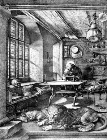 St. Jerome in his study stock photo, Famous engraving of St Jerome in his study by German artist Albrect D?rer. Published in 1514 as original artwork, public domain image by virtue of age. by Martin Crowdy