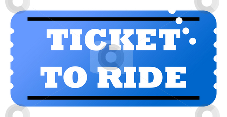Ticket to ride stock photo, Blue used ticket to ride, isolated on white background. by Martin Crowdy