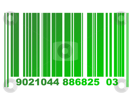 Eco bar code stock photo, Environmental green gradient or eco bar code isolated on white background. by Martin Crowdy