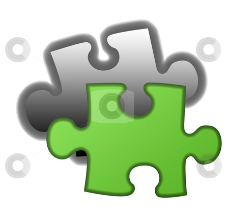 Final piece of eco jigsaw stock photo, Final piece of green eco jigsaw, isolated on white background. by Martin Crowdy