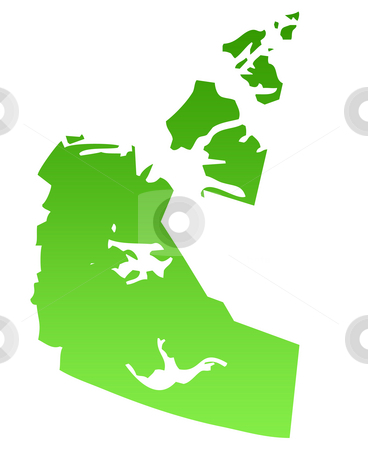 Northwest territories map stock photo, Map of Canadian province of Northest territories in green, isolated on white background. by Martin Crowdy