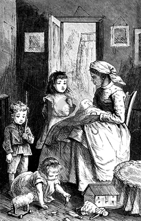 Nursemaid with children stock photo, Black woman period clothing looking after three caucasian children with toys and baby. Black and white engraving entitled,
