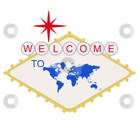 Welcome to the World sign stock photo, Welcome to the World or Earth sign in style of famous Las Vegas sign, isolated on white background. by Martin Crowdy