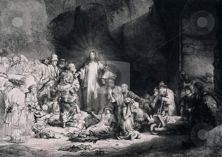 Engraving of Jesus Christ preaching stock photo, Engraving of Jesus Christ preaching to a crowd of people. Engraving by Dutch artist Rembrandt van Rijn entitled,