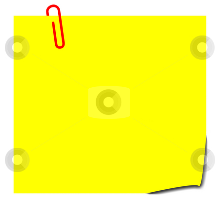 Yellow sticky note stock photo, Blank yellow sticky note with paperclip, isolated on white background. by Martin Crowdy
