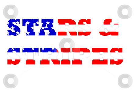 American flag in stars and stripes text stock photo, Stars and stripes text on American flag isolated on white background. by Martin Crowdy