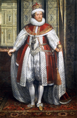 King James I of England stock photo, Oil on canvas painting of King James I of England, (1566-1625), Original artwork by artist Paul Van Somer in  1576 from Royal Collection. Public domain image by virtue of age. by Martin Crowdy