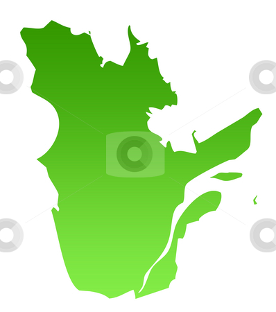 Quebec map stock photo, Map of Canadian province of Quebec in green, isolated on white background. by Martin Crowdy