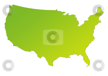 Gradient green map of America stock photo, Gradient green map of United States of America, isolated on white background. by Martin Crowdy