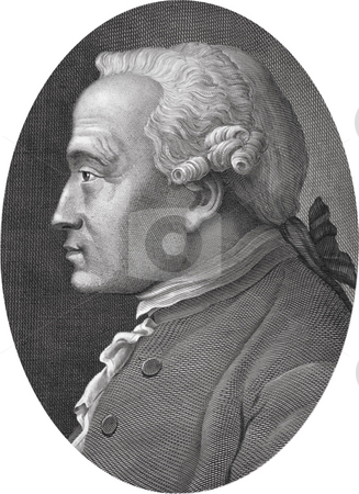 Portrait of Immanuel Kant stock photo, Black and white engraved portrait of philosopher Immanuel Kant, Published in the book,