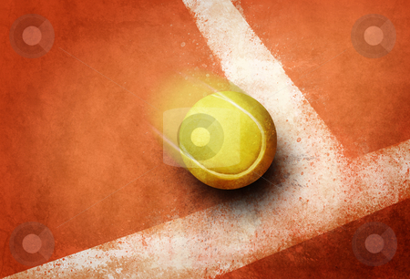 Tennis point stock photo, Tennis ball to corner red ground field line by Giordano Aita