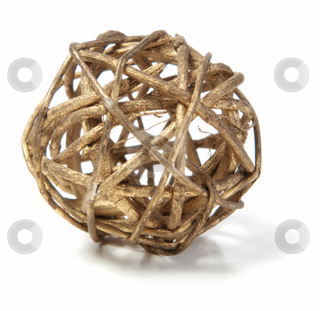 Wicker Wooden Ball stock photo, A decorative wicker wooden ball isolated against a white background. by Richard Nelson