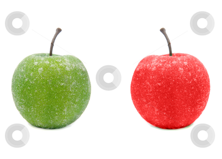Fake Green and Red Apples stock photo, A fake green and red apple isolated against a white background. by Richard Nelson