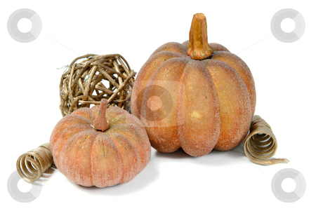Fall Colors stock photo, Artificial pumkins and fall ornaments, isolated against a white background. by Richard Nelson