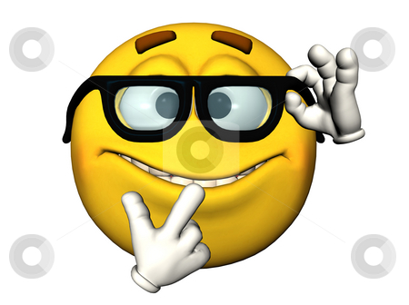 Nerdy emoticon stock photo, Illustration of a nerdy emoticon by Oliver Lenz