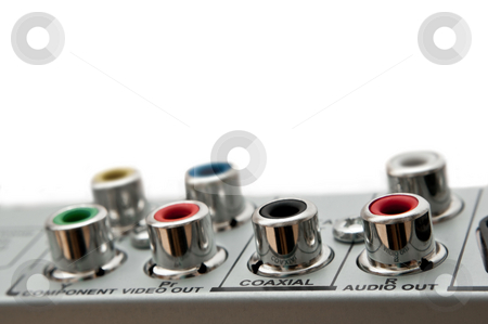 Audio visual sockets. stock photo, Close up capturing audio visual sockets on the rear of an electrical device. White background. by Samantha Craddock
