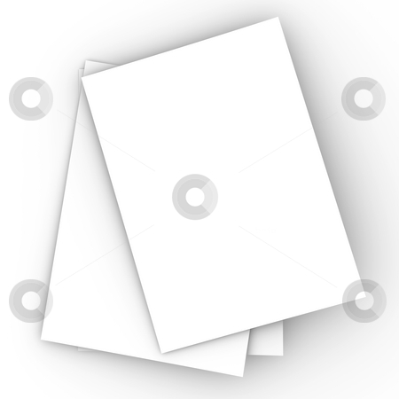 Paper Sheets stock photo, 3D Illustration. Isolated on white. by Michael Osterrieder