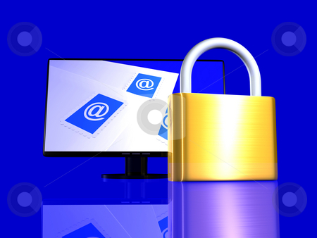 Secure Email stock photo, 3d rendered Illustration. Locked email. by Michael Osterrieder