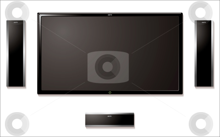 Lcd television with speakers stock vector clipart, Modern flat screen tft television with surround sound speakers by Michael Travers