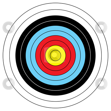 Archery target stock vector clipart, Illustrated archery target icon with colored bands and outline by Michael Travers