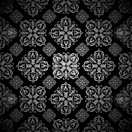 Floral wallpaper silver tile stock vector clipart, Silver and black seamless tile background wallpaper pattern by Michael Travers